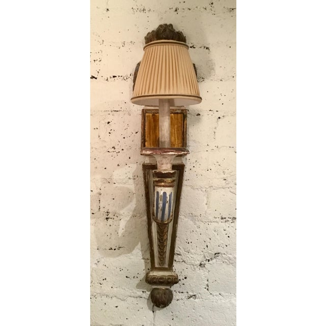 Shabby Chic 19th Century Painted French Wall Sconces - a Pair For Sale - Image 3 of 13