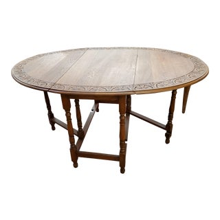 20th Century English Drop Leaf Dining Table For Sale
