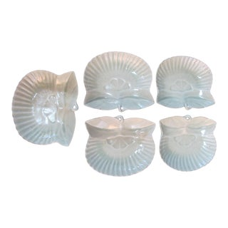 Chinese Porcelain Celadon Lotus Leaf Shaped 5pc Footed Plate Dish Set For Sale
