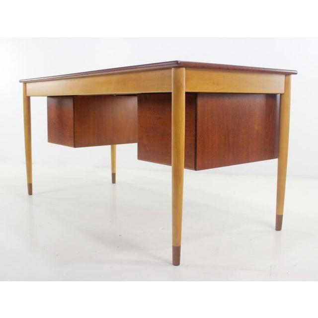Børge Mogensen Scandinavian Modern Teak, Beech & Walnut Desk Designed by Borge Mogensen For Sale - Image 4 of 7