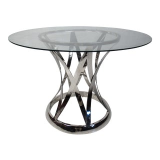 Contemporary Modern Chrome and Glass Side Table For Sale