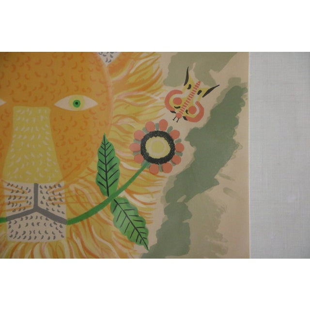 Lion & Butterfly Lithograph by Henri Maik - Image 6 of 7