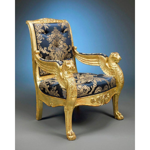 Empire French Giltwood Armchairs - A Pair For Sale - Image 3 of 6