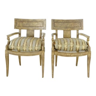 Vintage French Empire Style Armchairs- A Pair For Sale
