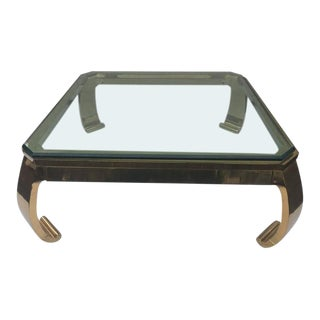 Karl Springer Asian Inspired Brass & Glass Coffee Table by Mastercraft