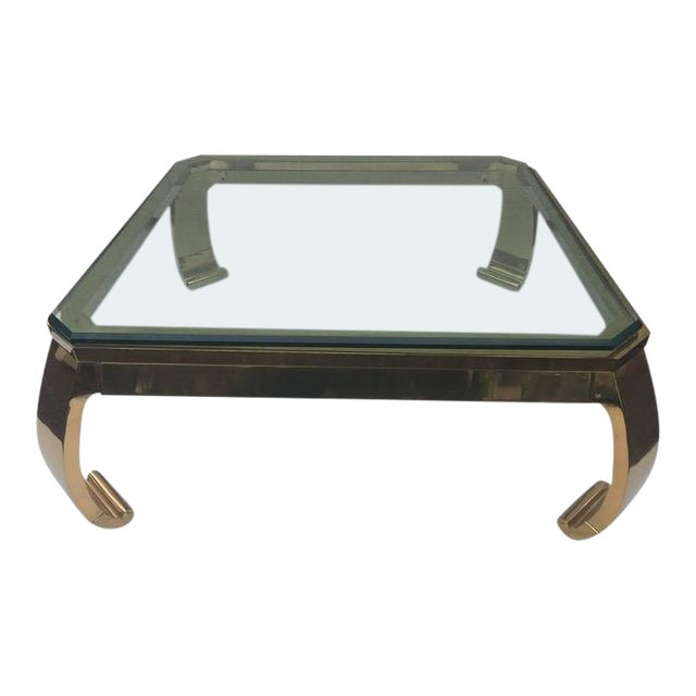 Karl Springer Asian Inspired Brass Glass Coffee Table By