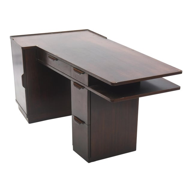 American Modern Dark Walnut Desk Edward Wormley Dunbar For