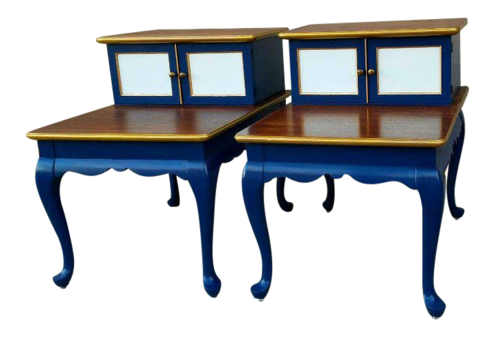 Queen Anne Two Tiered Mid Century Modern End Tables   A Pair