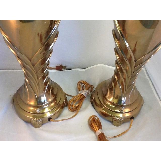 Vintage Rembrandt Art Deco Style Brass Lamps - Pair - Image 8 of 9