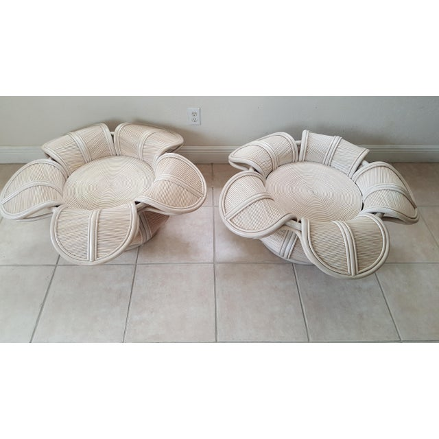 1970s Hollywood Regency Rattan Pencil Reed Bell Flower Coffee Tables - a Pair For Sale - Image 6 of 11