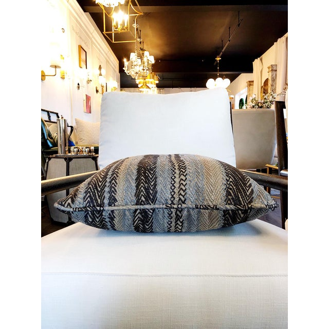 Contemporary Robert Allen Zigzag Graphite Pillow Cover For Sale - Image 3 of 8