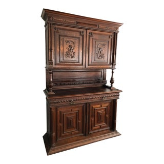 19th Century French Renaissance-Style Buffet a Deux Corps in Walnut With Brass Fittings For Sale