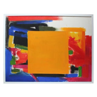 """Barbara Lewis """"Golden Square"""" Large Abstract Expressionist Oil Painting, 20th Century For Sale"""