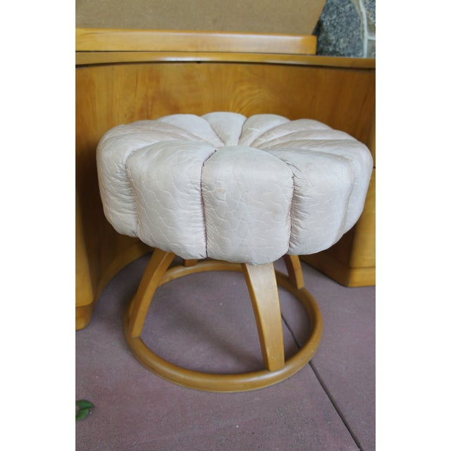 Heywood Wakefield Rio Champagne Maple Vanity & Stool For Sale - Image 5 of 11