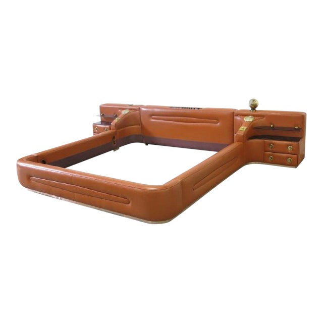 Leather King-Sized Bedframe in the Style of Guido Faleschini | Chairish