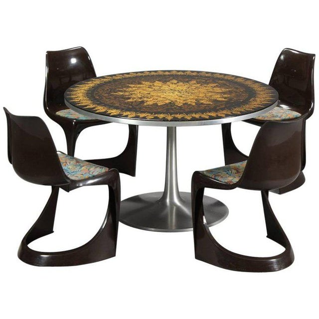 Poul Cadovius 1960s Dining Table in Aluminum and Matching Plastic Dining Chairs For Sale - Image 12 of 12
