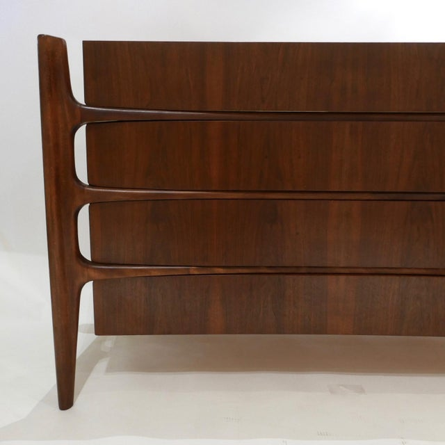 Brown Stilted Curved Scandinavian Mid-Century Modern William Hinn Chest or Dresser For Sale - Image 8 of 13