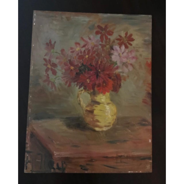 French Mid-Century Floral Still-Life Painting For Sale - Image 4 of 4