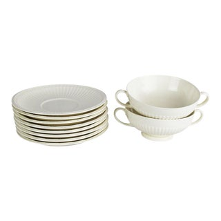 Wedgwood Windsor Soup Bowls and Plates - Set of 10 For Sale