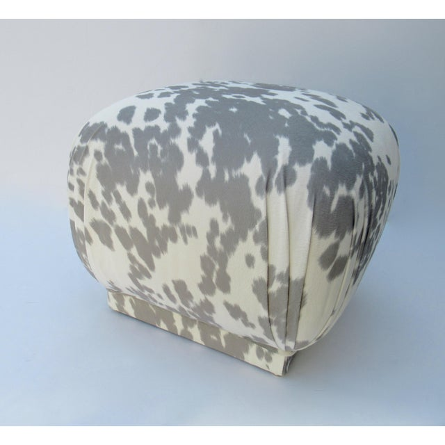 Vintage C.1970s Karl Springer Souffle' Pouf Ottoman in a Nova Suede Pony Hide Spotted Textile For Sale In West Palm - Image 6 of 13