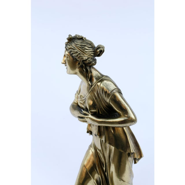 Neoclassical 18th Century Neoclassical Bronze Doré Sculpture of a Woman For Sale - Image 3 of 11
