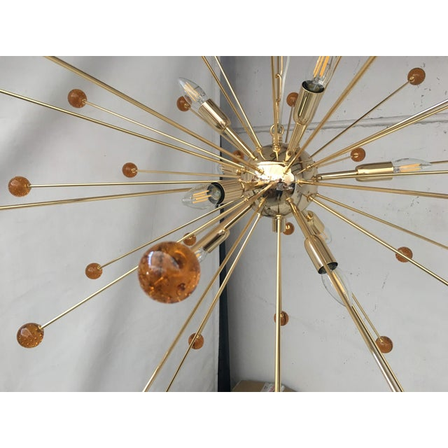Mid-Century Modern Amber Murano Glass Triedo and Gold 24k Sputnik Frame For Sale - Image 3 of 7