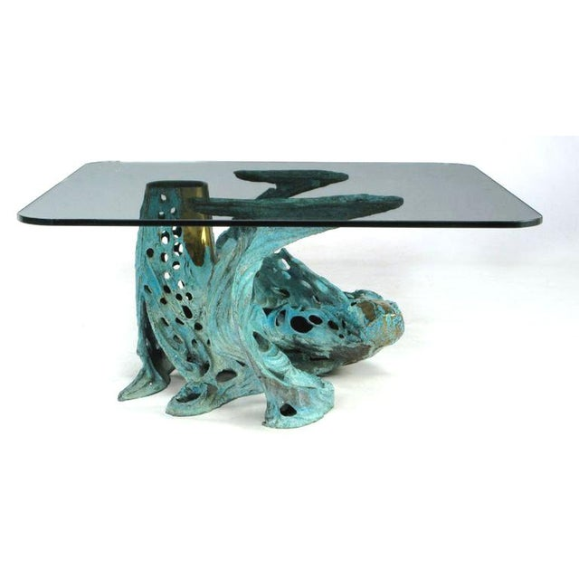 Bob Bennett Bob Bennett Cast & Turqouise Patinated Bronze Abstract Sculpture Table For Sale - Image 4 of 9