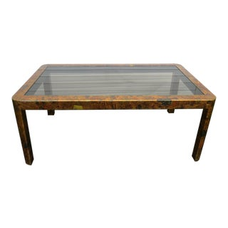 Paul Evans Style Patchwork Metal Dining Table With Smoked Glass Top For Sale