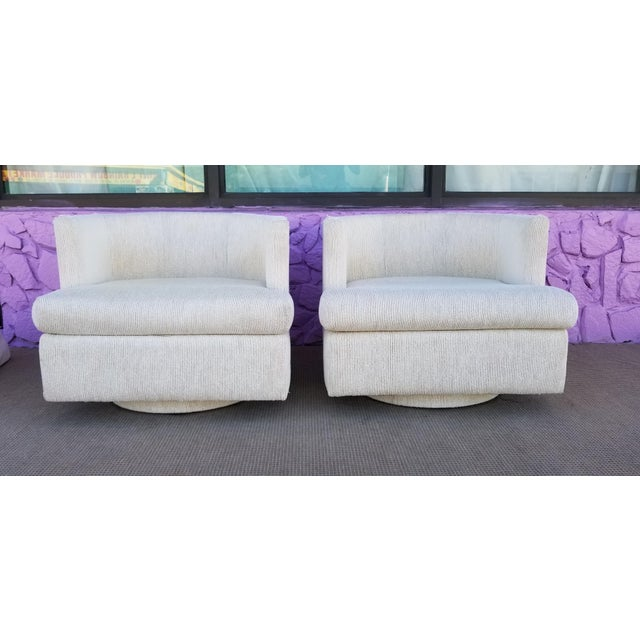 Vintage Geometric Back Swivel Chairs- a Pair For Sale - Image 13 of 13