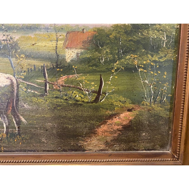 Vintage Signed Oil on Canvas Painting For Sale - Image 4 of 13