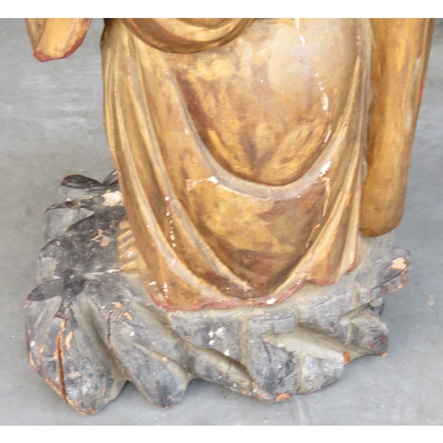 Antique Carved & Painted Buddha For Sale - Image 5 of 7