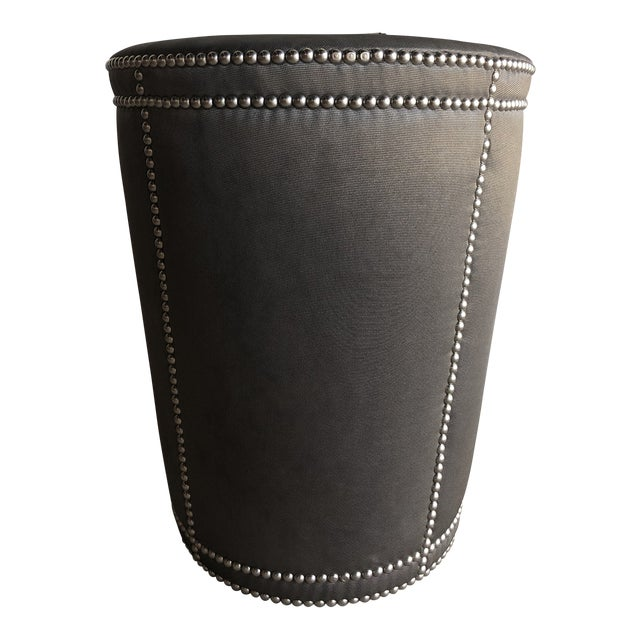 Moire Upholstered Stool With Chrome Nail Heads For Sale