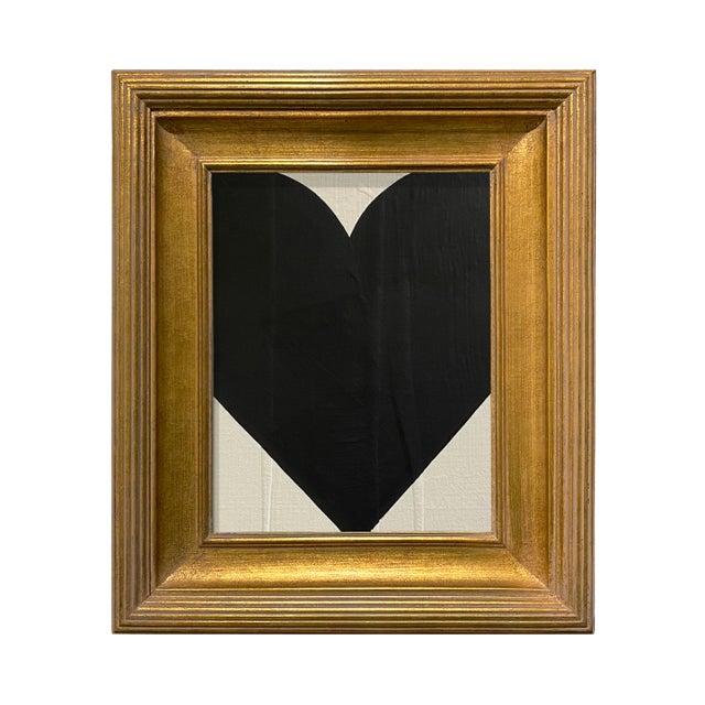 Ron Giusti Mini Heart Cream Black 2 Acrylic Painting For Sale