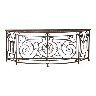 19th Century French Antique Wrought Iron Console Server Table With Marble Top For Sale