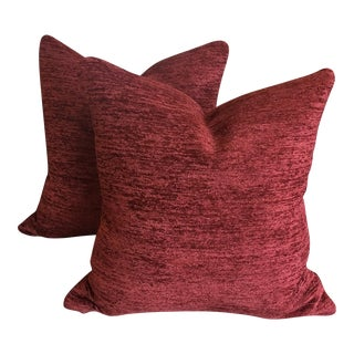 Kravet Chenille Red Velvet Fabric Pillows - a Pair For Sale