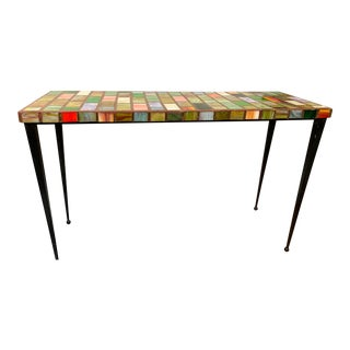 1990s Mosaic Glass Top Table For Sale
