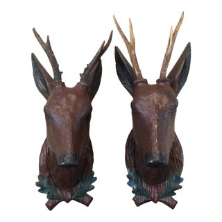 Antique Carved Wood Deer Heads With Real Roe Antlers For Sale