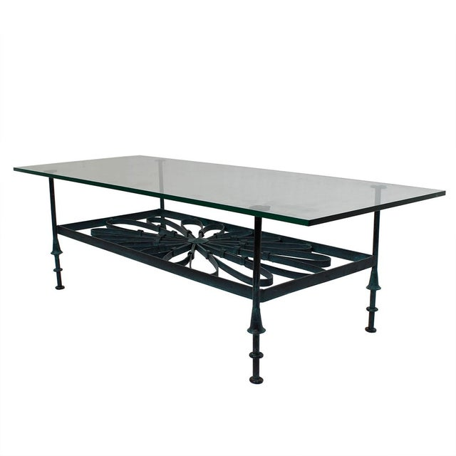 Decorator Wrought Iron & Glass Coffee Table - Image 7 of 7