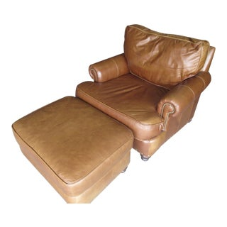 Modern Bernhardt Light Brown Leather Club Chair & Ottoman For Sale