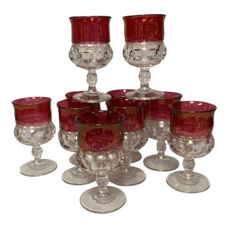 Mid Century Kings Crown Ruby Flash Goblets Set of 10 For Sale