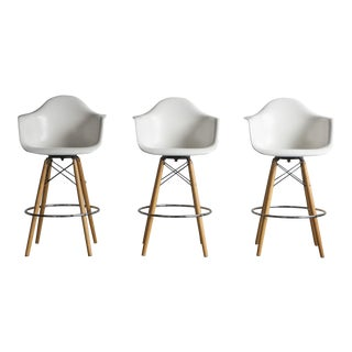 Fiberglass Dowel Base Armshell Barstools by Eames for Modernica -- Set of 3 For Sale