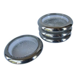 Mid-Century Silverplate Coasters - Set of 4 For Sale
