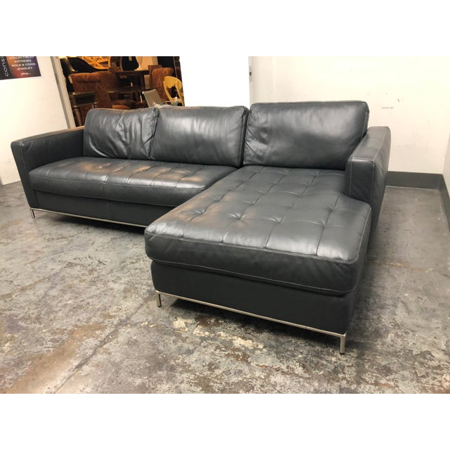 Mid-Century Modern Natuzzi Silvio Pheonix Gray Leather Sectional For Sale - Image 3 of 10