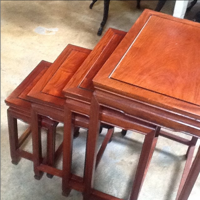 4-Piece Chinese Rosewood Nesting Tables For Sale - Image 4 of 6