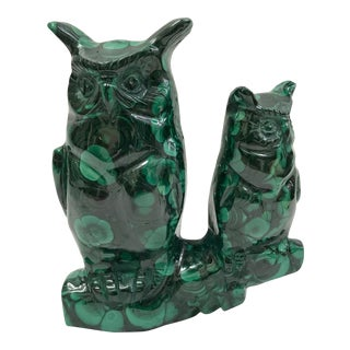 1980s Carved Solid Malachite Stone Owls Sculpture For Sale