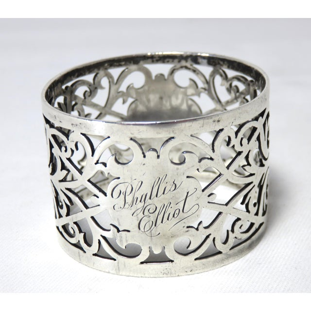 This is a fancy reticulated sterling silver napkin ring. The piece was completely handmade by John Round in Sheffield,...