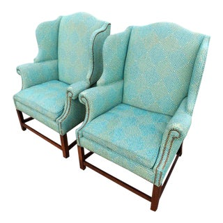 Henredon Turquoise Wingback Chairs - A Pair For Sale