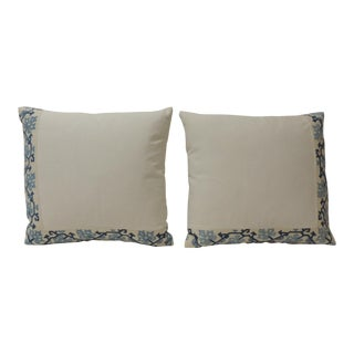19th Century Blue and White Greek Isle Embroidered Decorative Pillows For Sale