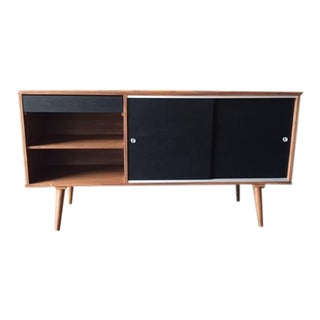 Custom Mid Century Style Walnut Credenza Cabinet For Sale