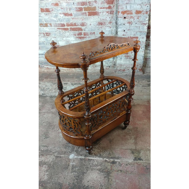 19th c. Georgian Carved Burl Wood Library Book Stand & Magazine rack For Sale - Image 10 of 12